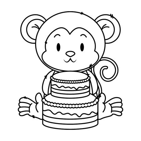 cute little monkey character vector illustration design