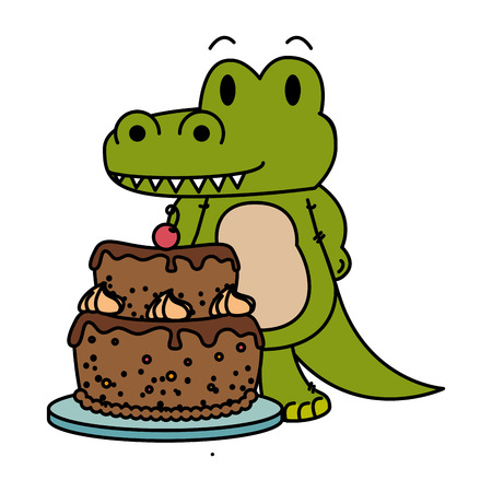 cute little crocodrile character vector illustration design