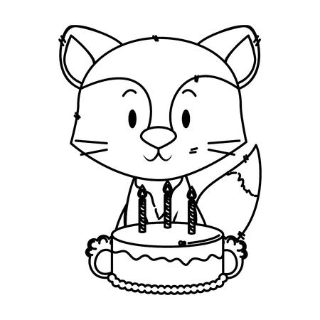 cute little fox character vector illustration design