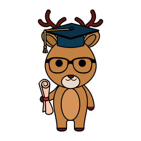 cute little reindeer character vector illustration design