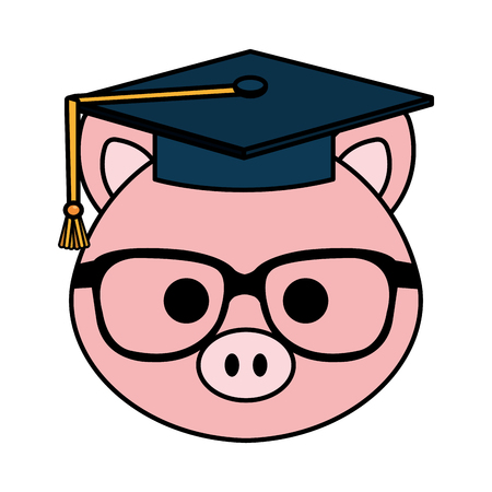cute little pig character vector illustration design