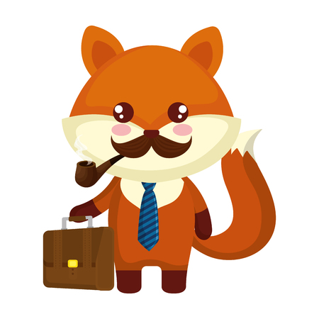 cute little fox character vector illustration design