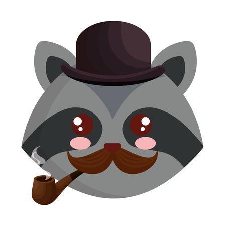 cute little raccoon character vector illustration design  イラスト・ベクター素材