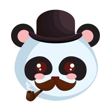 cute little bear panda character vector illustration design Иллюстрация