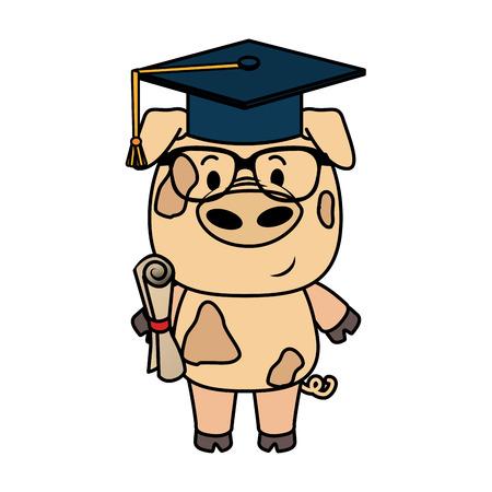 cute little pig character vector illustration design
