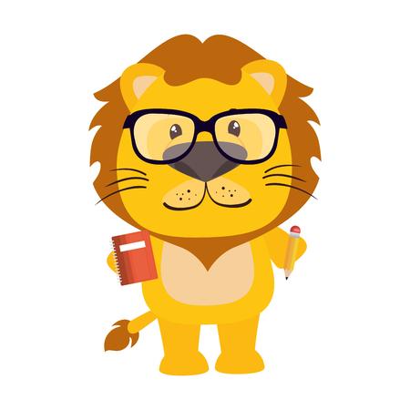 Diseño lindo del ejemplo del vector del carácter del pequeño león Ilustración de vector