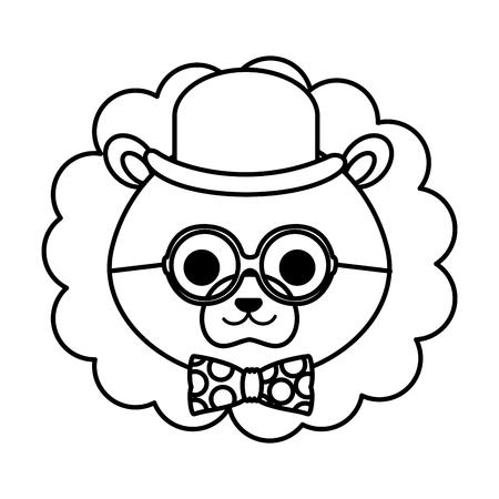 cute little lion character vector illustration design