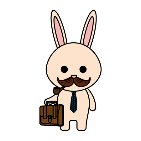 cute little rabbit character vector illustration design