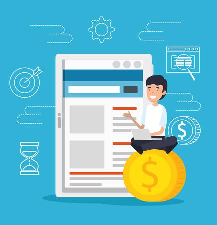 uomo con tecnologia tablet e laptop con monete illustrazione vettoriale