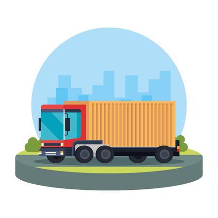 delivery service truck vehicle vector illustration design