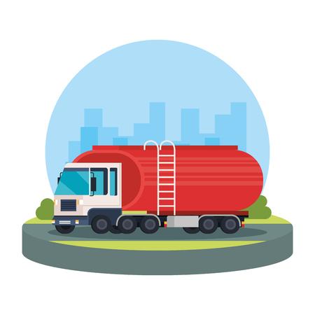 tanker truck logistic service vector illustration design 向量圖像
