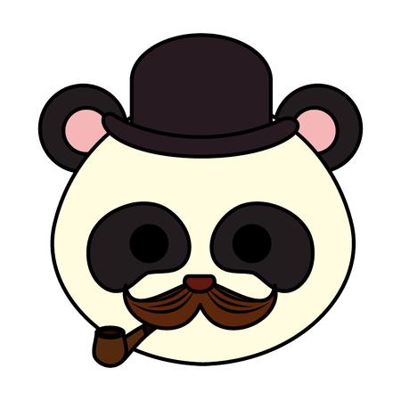 cute little bear panda character vector illustration design  イラスト・ベクター素材