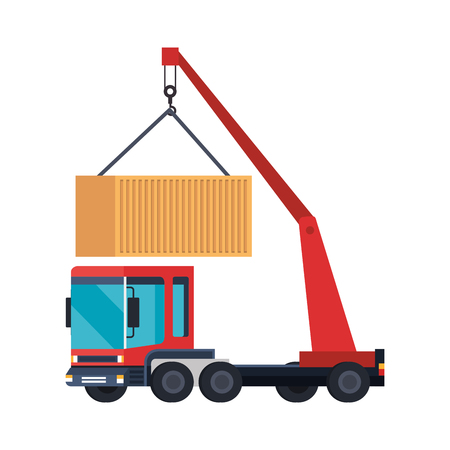 truck crane lifting container logistic service vector illustration design