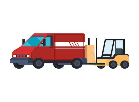 forklift and van delivery service vector illustration design