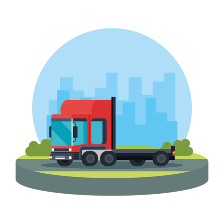 delivery service truck vehicle vector illustration design