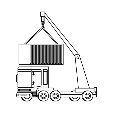 truck crane lifting container logistic service vector illustration design Illustration