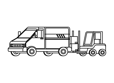 forklift and van delivery service vector illustration design