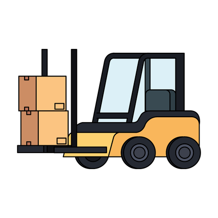 forklift vehicle delivery service vector illustration design