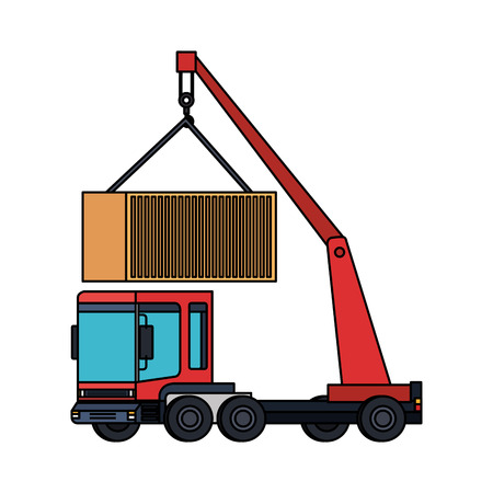 truck crane lifting container logistic service vector illustration design Stock Illustratie