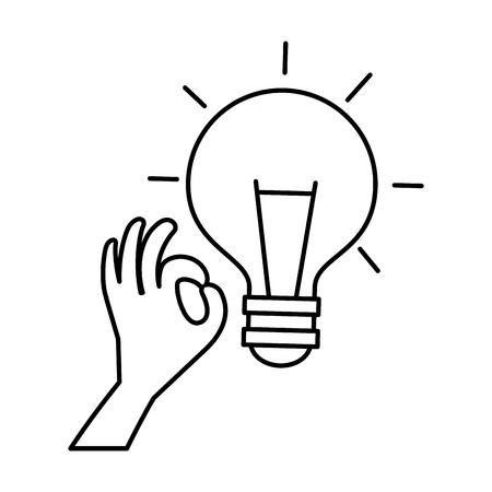 hand with bulb light vector illustration design Çizim
