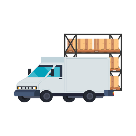 delivery service van with shelving and boxes vector illustration design