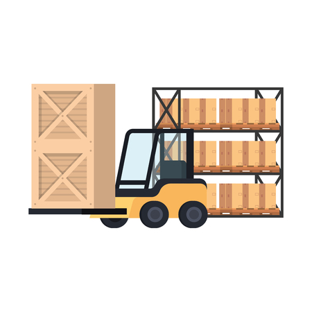 forklift delivery with boxes in shelving vector illustration design
