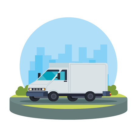delivery service van vehicle vector illustration design Stockfoto - 125384504