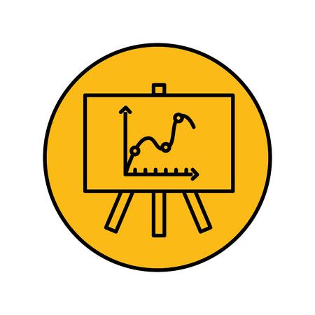 paperboard with statistics arrows vector illustration design