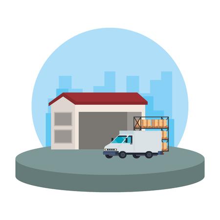 delivery service van vehicle in warehouse vector illustration design Illustration
