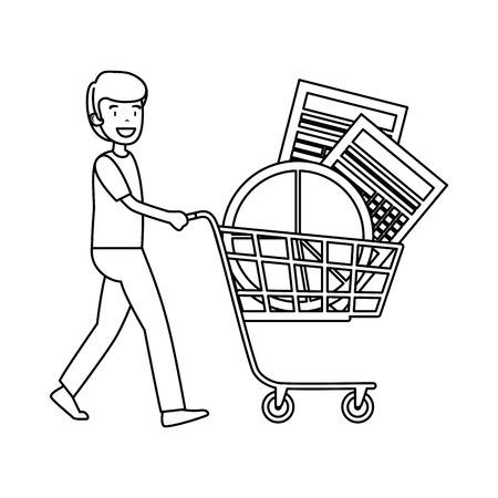 businessman with shopping cart and statistics graphics vector illustration Çizim