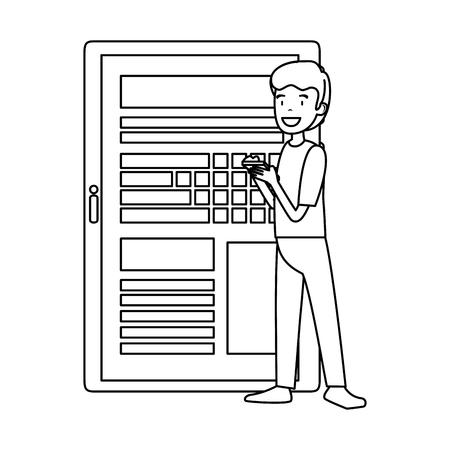 businessman using smartphone and tablet vector illustration design