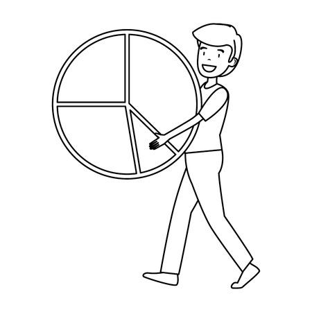 businessman lifting statistics infographic pie vector illustration design