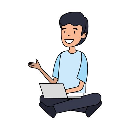 businessman with laptop computer vector illustration design