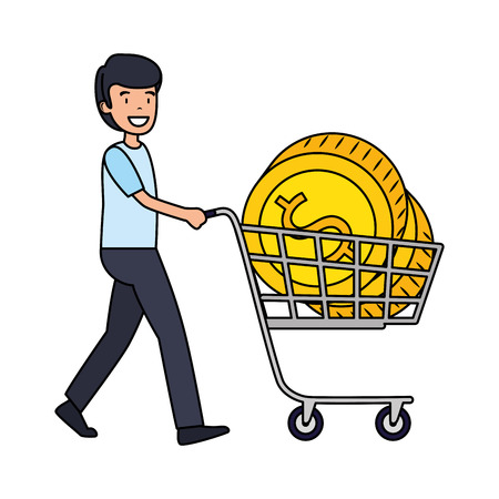 businessman with coins in shopping cart vector illustration design 向量圖像