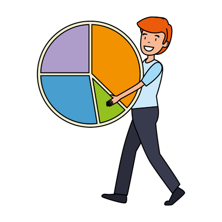 businessman lifting statistics infographic pie vector illustration design