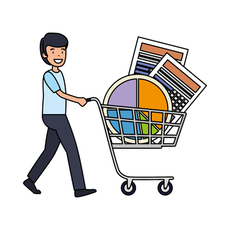 businessman with shopping cart and statistics graphics vector illustration Ilustração