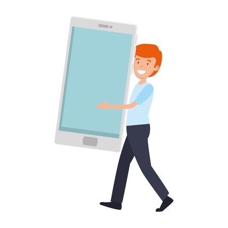 businessman with smartphone character vector illustration design Illustration