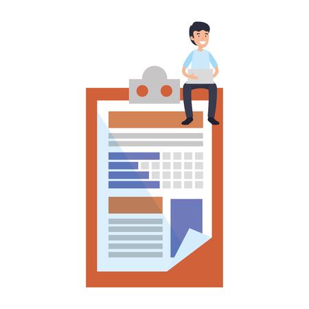 businessman sitting in clipboard document vector illustration design 版權商用圖片 - 125388543