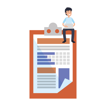 businessman sitting in clipboard document vector illustration design