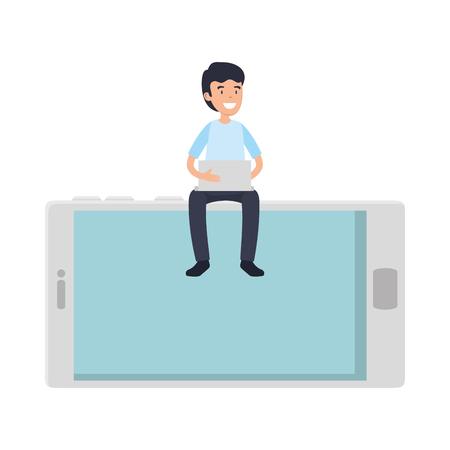 businessman using laptop with smartphone vector illustration design Illusztráció
