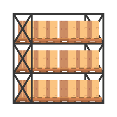 shelving with boxes carton logistic vector illustration design