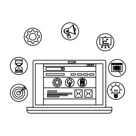 laptop computer with business set icons vector illustration design Illustration