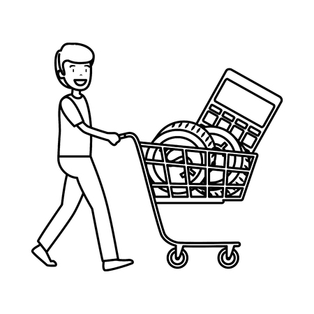 businessman with shopping cart vector illustration design