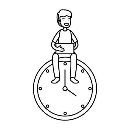 man with time clock vector illustration design Vettoriali