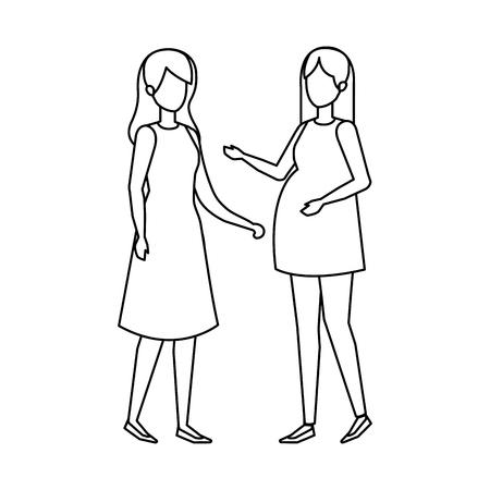 woman pregnancy with girl vector illustration design Zdjęcie Seryjne - 125388699