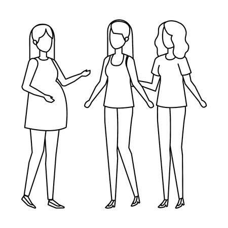 woman pregnancy with girls vector illustration design Иллюстрация