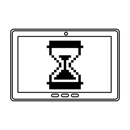 tablet with hourglass icon vector illustration design