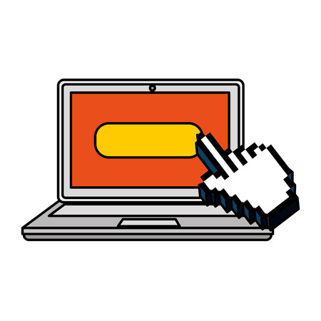 laptop with hand cursor vector illustration design