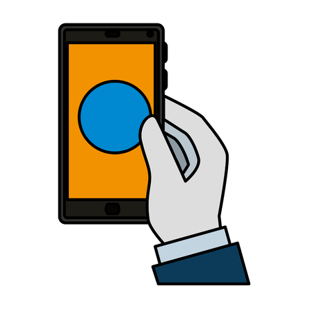 hand using smartphone device vector illustration design