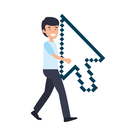 man lifitng arrow mouse pointer vector illustration design
